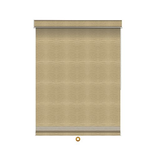 Sun Glow Blackout Roller Shade with Herringbone Trim - Chain Operated with Valance - 58.25-inch X 84-inch in Champagne