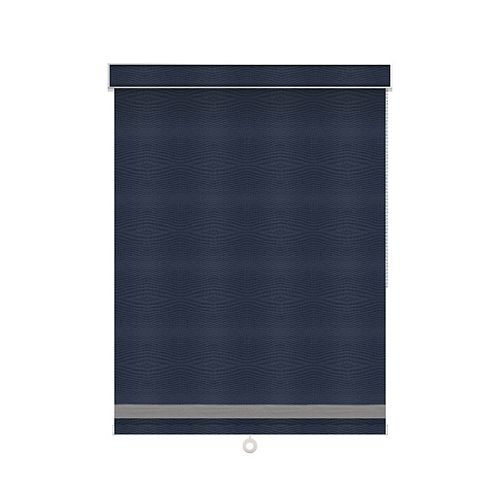 Sun Glow Blackout Roller Shade with Herringbone Trim - Chain Operated with Valance - 33.5-inch X 36-inch in Navy