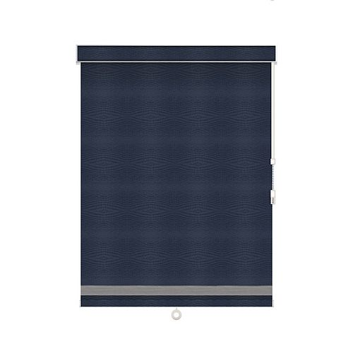 Sun Glow Blackout Roller Shade with Herringbone Trim - Chain Operated with Valance - 74-inch X 36-inch in Navy