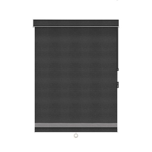 Sun Glow Blackout Roller Shade with Herringbone Trim - Chain Operated with Valance - 23.25-inch X 36-inch in Denim