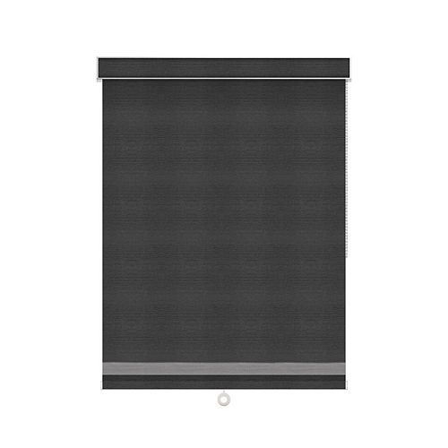 Sun Glow Blackout Roller Shade with Herringbone Trim - Chain Operated with Valance - 73.5-inch X 60-inch in Denim