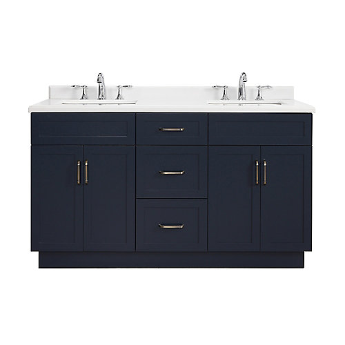 Lincoln 60 inch Midnight Blue Vanity Bathroom Cabinet