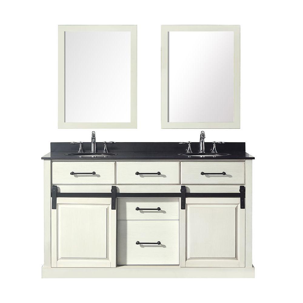 Spot Au Dessus Lavabo meuble-lavabo à 2 lavabos avec dessus en granit noir merceza, 60 po, blanc  antique