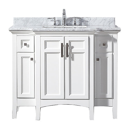 Sassy 42-inch Bath Vanity in White with Carrara Marble Top