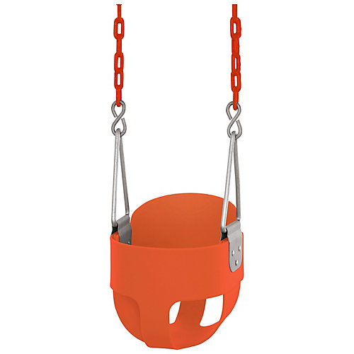 haut du dos, seau complet bambin et Baby Swing-chaîne en vinyle-entièrement assemblé-orange