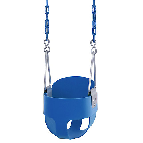 High Back, Full Bucket Toddler & Baby Swing - Vinyl Coated Chain - Fully Assembled - Blue