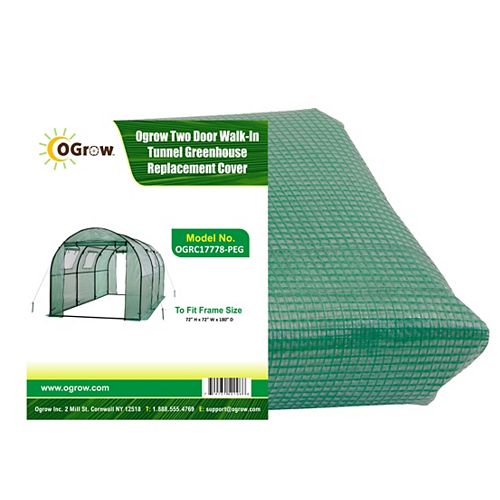 Ogrow Two Door Walk-In Tunnel Greenhouse Replacement Cover - To Fit Frame Size 15 ft. X 6 ft. X 6 ft.