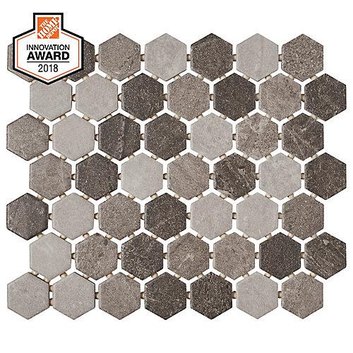 Carreau de mosaïque hexagonale, 10po x 12po x 6mm, quartzite, multigris (0,81pi2/pièce)
