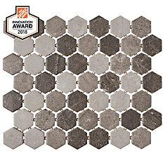 Quartzite Multi-Grey 10-inch x 12-inch x 6 mm Ceramic Hexagon Mosaic Tile (0.81 sq. ft. / piece)