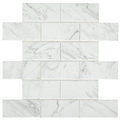Carrara 12-inch x 12-inch x 6 mm Ceramic Brick Joint Mosaic Tile (0.83 sq. ft. / piece)