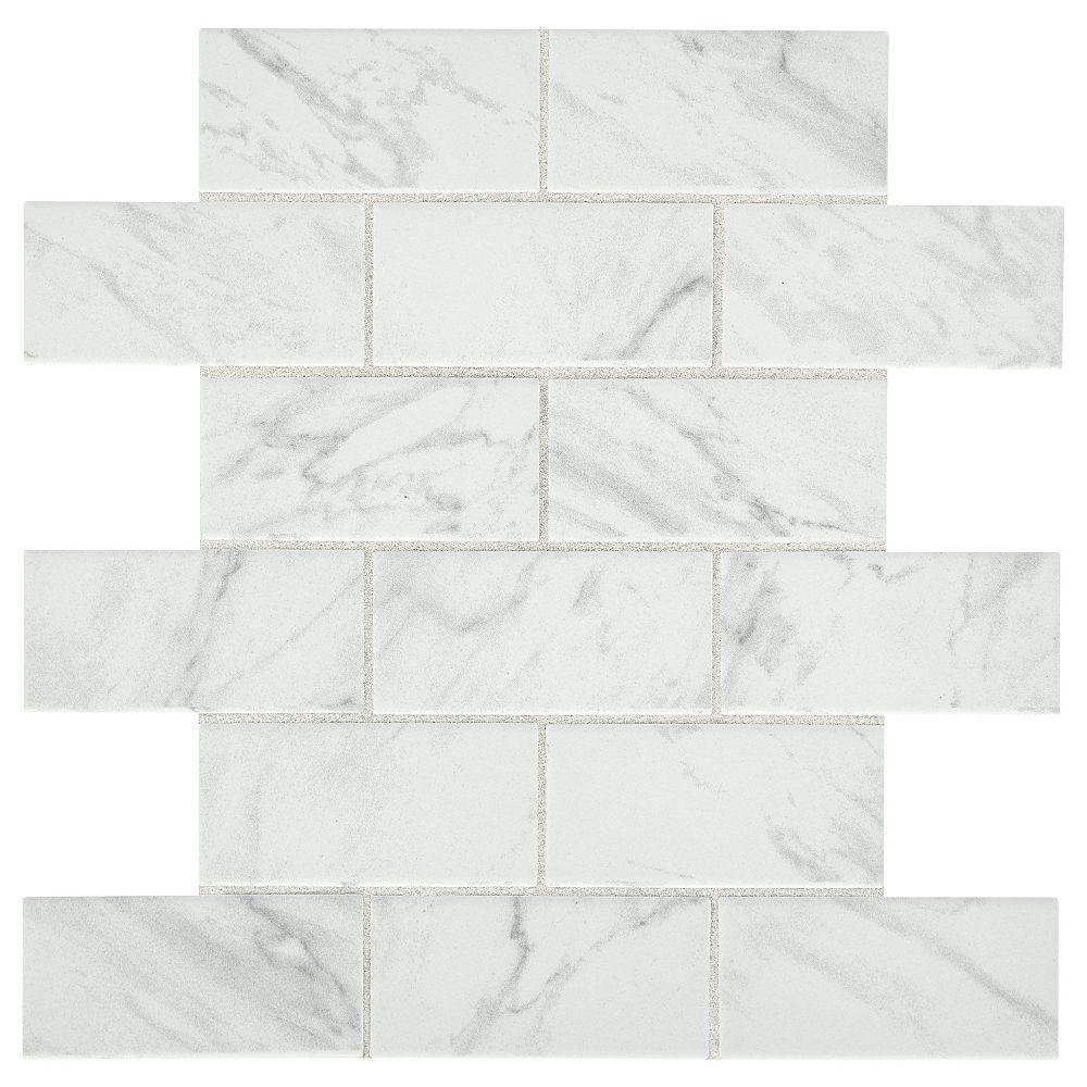 Lifeproof Carrara 12-inch x 12-inch x 6 mm Ceramic Brick Joint Mosaic Tile (0.83 sq. ft. / piece)