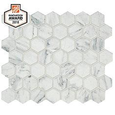 Carreau de mosaïque hexagonale Carrara, 10po x 12po x 6mm, céramique (0,81pi2/pièce)