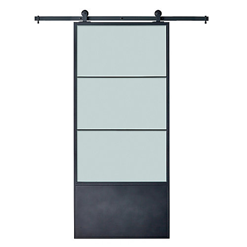Cartier Black Metal Barn Door Kit with Frost Insert