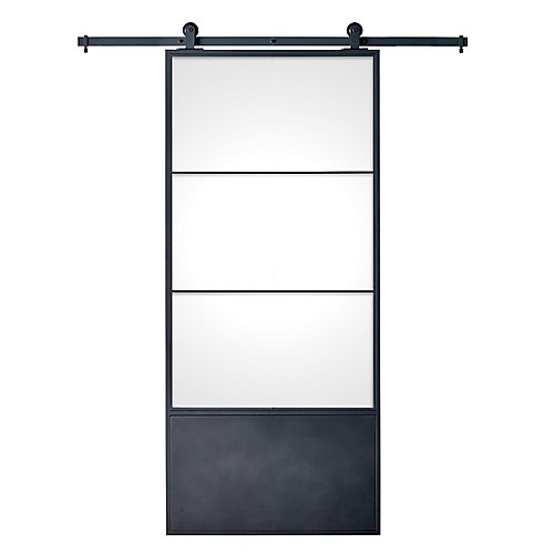 Cartier Black Metal Barn Door Kit with Clear Insert