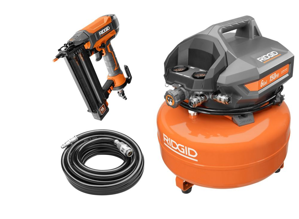 Rigid 6 Gallon Pancake Compressor and 2-1/8 -inch Brad Nailer Kit R69601FK