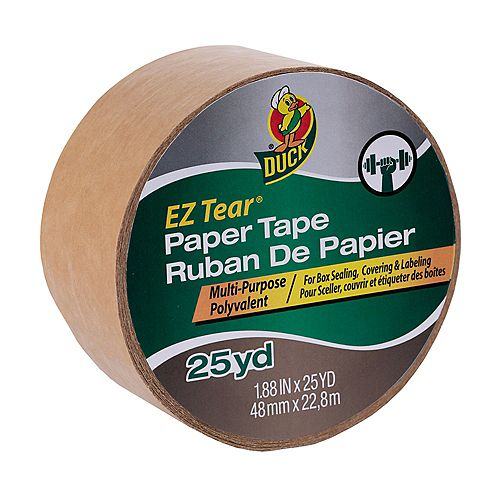 Duck Brand EZ Tear Paper Tape - Tan, 1.88 inch x 25 yd.
