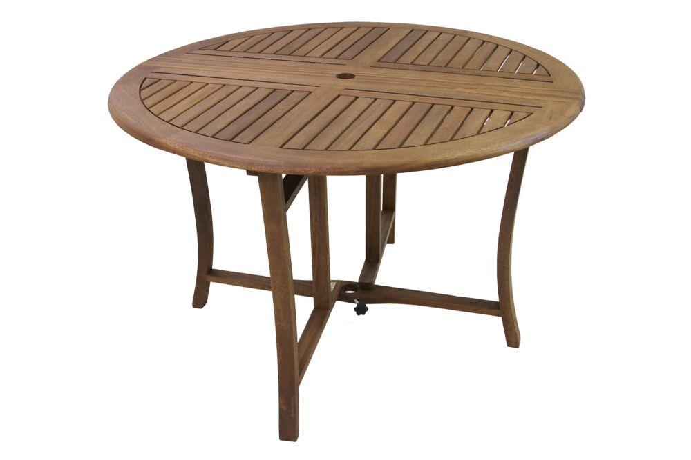 Table ronde pliante d\'eucalyptus de 43 po