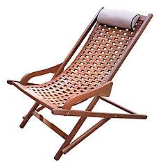 Chaise longue pivotante d'eucalyptus avec coussin beige