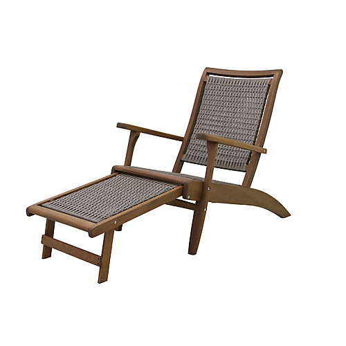 Driftwood Grey Wicker & Eucalyptus Lounge Chair with Built-in Ottoman