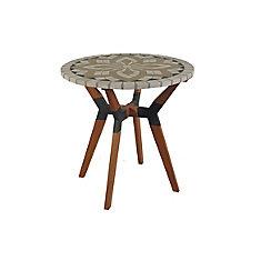 Table bistro en marbre mosaïque avec base en matériaux mixtes, diam. 30 po