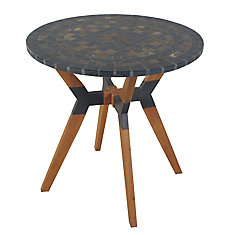 30 inch Dia. Slate Mosaic Bistro Table with Mixed Material Base