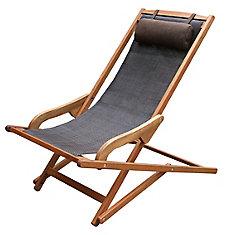 Chaise longue pivotante suspendue brune et eucalyptus