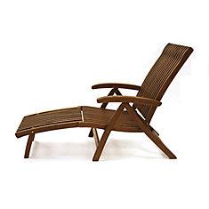 Chaise longue Venetian 5 positions d'eucalyptus avec repose-pi détachable