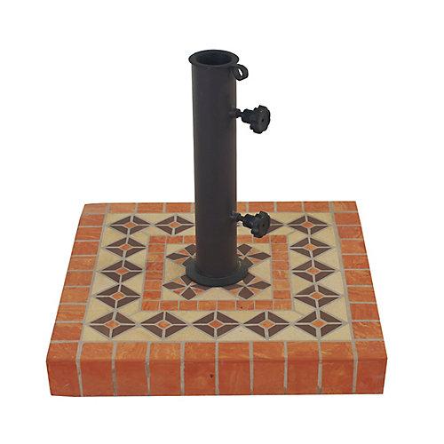 Base de parasol carrée en terre cuite, diam. 17 po