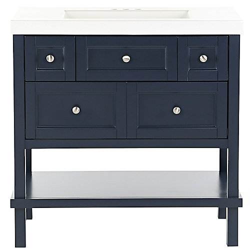 Ashland 36.7 inch W x 19.06 inch D Vanity in Blue with Cultured Marble Vanity Top in White
