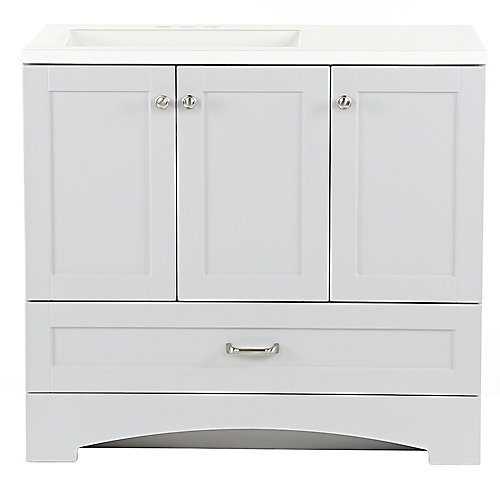 Lancaster 36.25 inch W x 18.75 inch D Vanity in Pearl Gray with Cultured Marble Vanity Top in White