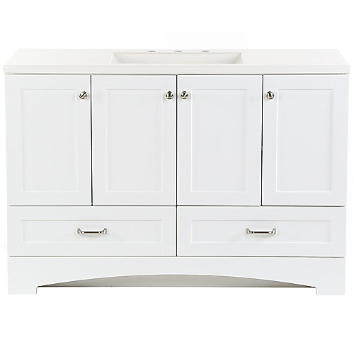 Lancaster 48.25 inch W x 18.75 inch D Vanity in White with Cultured Marble Vanity Top in White