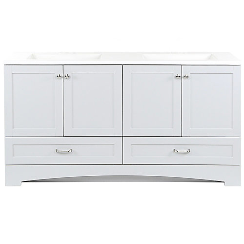 Lancaster 60.25 inch W x 18.75 inch D Vanity in Pearl Gray with Cultured Marble Vanity Top in White