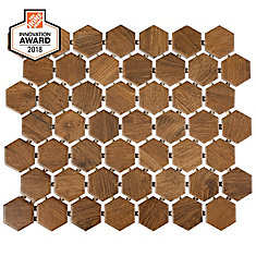 Revere Wood 10-inch x 12-inch x 6 mm Ceramic Hexagon Mosaic Tile (0.81 sq. ft. / piece)
