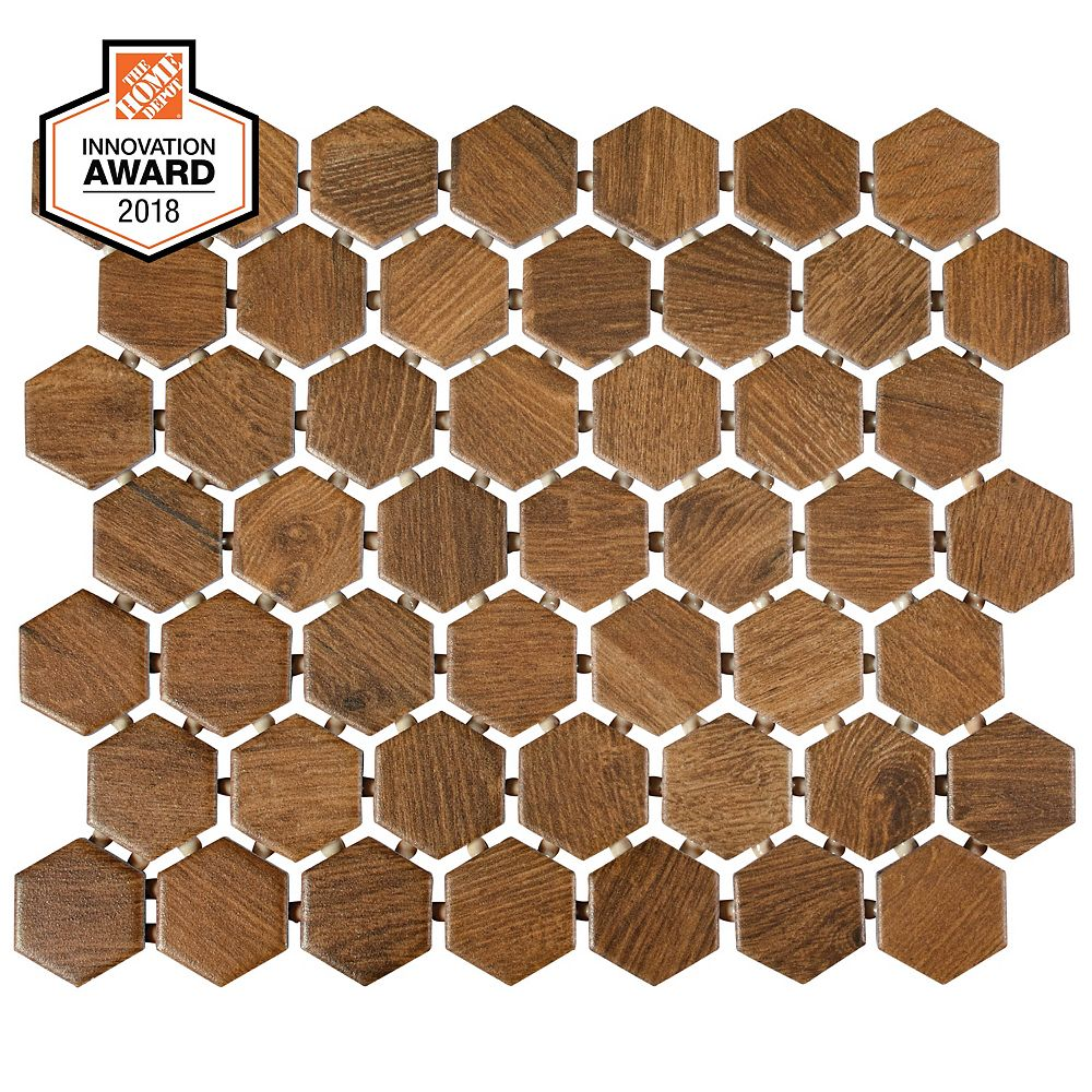 Lifeproof Revere Wood 10-inch x 12-inch x 6 mm Ceramic Hexagon Mosaic Tile (0.81 sq. ft. / piece)
