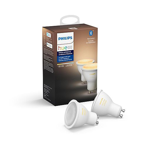 Philips Hue White Ambiance Bluetooth Enabled GU10 LED Light Bulb (2-Pack)