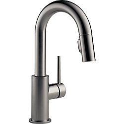 Trinsic Single Handle Pull-Down Bar/Prep Faucet, Black Stainless