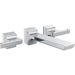 Pivotal Two-Handle Wall Mount Lavatory Faucet Trim in Chrome (Valve Sold Separately)