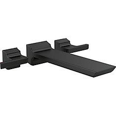 Garniture de remplisseuse de baignoire Pivotal à montage au plancher, noir mat