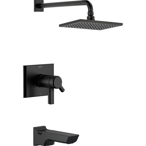 Delta Pivotal TempAssure 17T Series H2Okinetic Tub and Shower Trim, Matte Black (Valve Sold Separately)