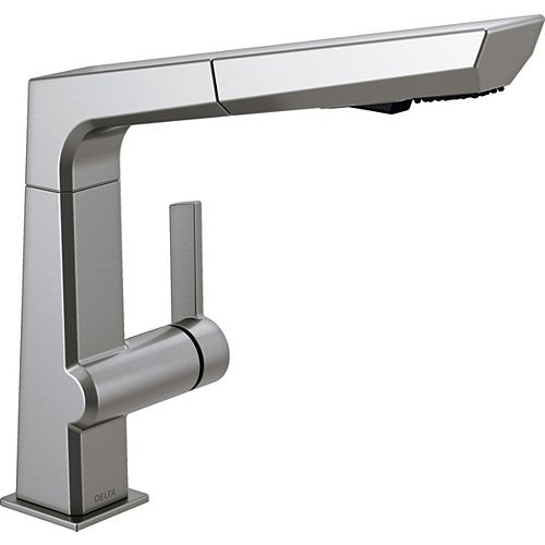 Delta Pivotal Single-Handle Pull-Out Sprayer Kitchen Faucet in Arctic Stainless
