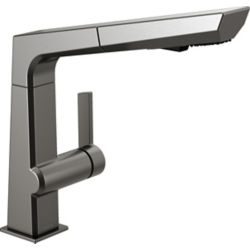 Delta Pivotal Single-Handle Pull-Out Sprayer Kitchen Faucet in Black Stainless