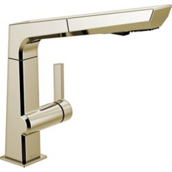 Delta Pivotal Single-Handle Pull-Out Sprayer Kitchen Faucet in Polished Nickel