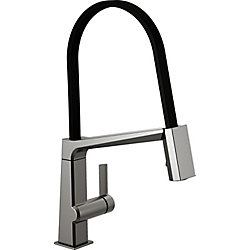 Pivotal Single Handle Exposed Hose Kitchen Faucet in Black Stainless