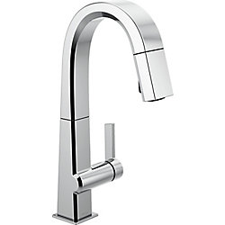 Pivotal Single Handle Pull Down Bar/Prep Faucet, Chrome