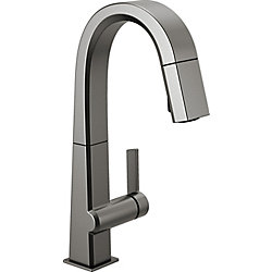 Pivotal Single Handle Pull Down Bar/Prep Faucet in Black Stainless