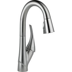 Delta Esque Single Handle Pull-Down Bar/Prep Faucet, Arctic Stainless