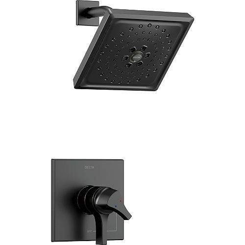 Delta Zura 1-Handle Shower Faucet Trim Kit with H2Okinetic Spray in Matte Black (Valve Sold Separately)