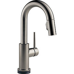 Trinsic Single Handle Pull-Down Bar/Prep Faucet with Touch, Black Stainless