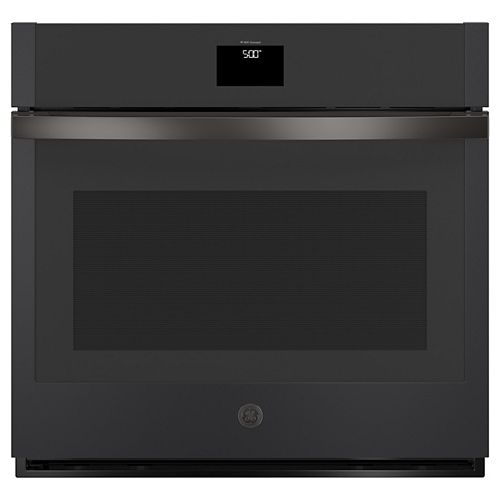 GE 30-inch Smart Single Electric Wall Oven with Convection Self-Cleaning in Black Slate