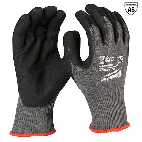 Milwaukee Tool Cut Level 5 Nitrile Dipped Gloves - L